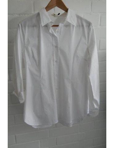 Wendy Trendy Damen Bluse weiß white edel schlicht Basic uni