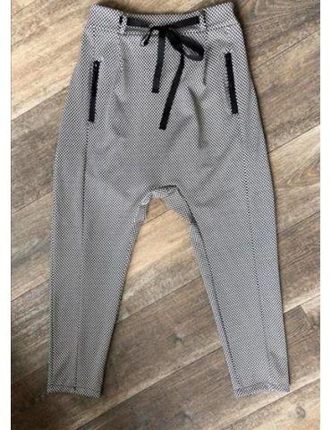ESViViD Bequeme Sportliche Damen Hose Baggy mit Reißverschluss schwarz weiß Fischgrät 644
