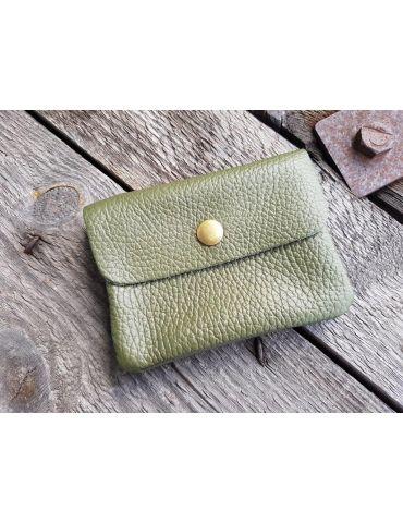Portemonnaie Geldbörse Börse klein oliv khaki Echtes Leder