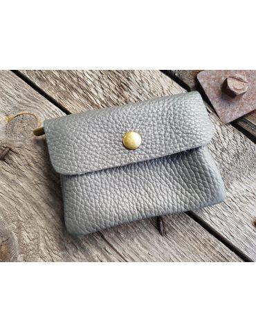 Portemonnaie Geldbörse Börse klein grau grey Echtes Leder