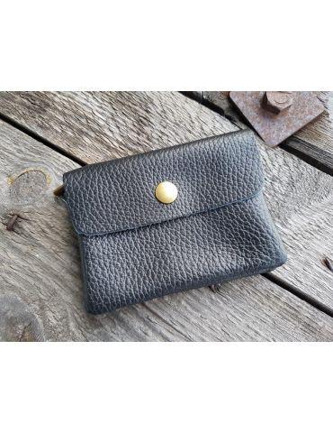 Portemonnaie Geldbörse Börse klein schwarz black Echtes Leder