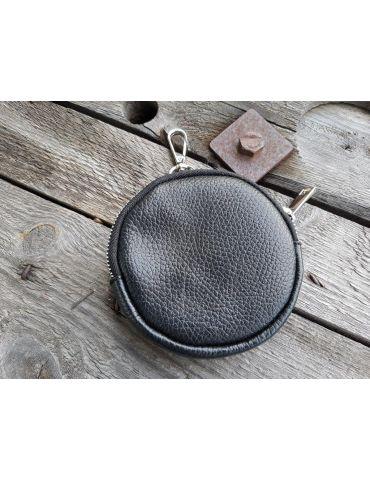 Portemonnaie Geldbörse Börse Taschenanhänger rund schwarz black Echtes Leder
