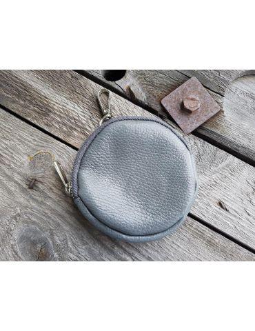 Portemonnaie Geldbörse Börse Taschenanhänger rund grau grey Echtes Leder