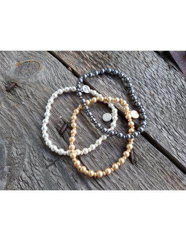 Armband Metallarmband Perlen klein goldfarben...
