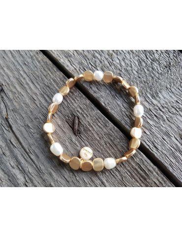 Armband Metallarmband Plättchen Perlen klein goldfarben matt elastisch