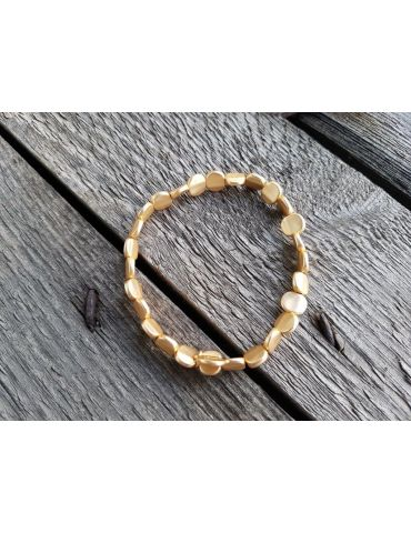 Armband Metallarmband Perlen klein gold farben matt Plättchen elastisch