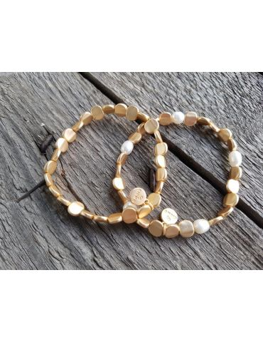 Armband Metallarmband Perlen klein gold farben...