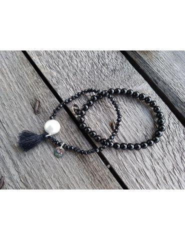 Armband Kristallarmband Perlen Trottel schwarz...