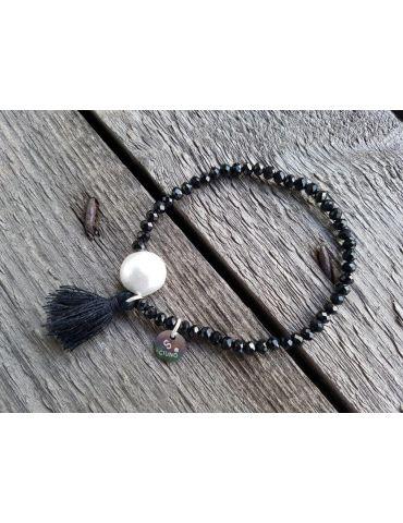 Armband Kristallarmband Perlen Trottel schwarz silber Glitzer Schimmer elastisch