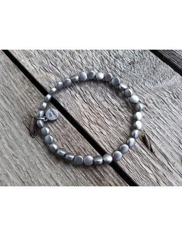 Trendiges Damen Armband elastisch anthrazit matt flache Perlen klein Kunststoff Metall Onesize