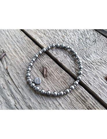 Armband Metallarmband Perlen klein anthrazit grau matt Kugeln elastisch