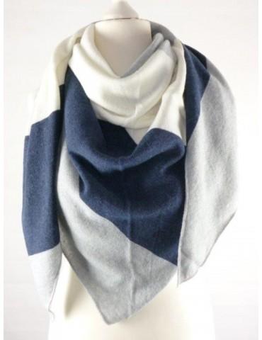 Zwillingsherz Dreieckstuch Schal mit Kaschmir dunkelblau hellgrau creme Streifen Stefanie