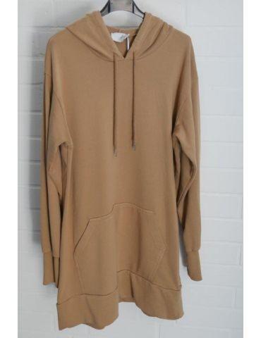 ESViViD Damen langarm Sweat Shirt Tunika Kleid mit Kapuze camel Onesize ca. 36 - 40
