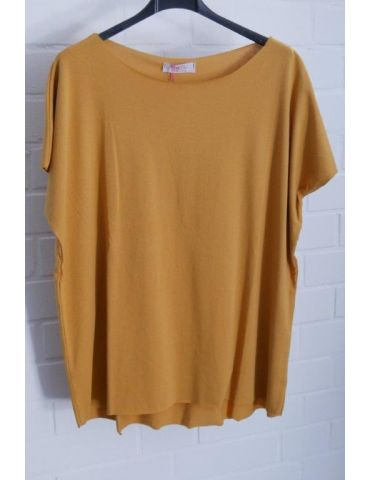 Damen Basic Shirt kurzarm senf gelb mit Baumwolle Onesize 38 - 44