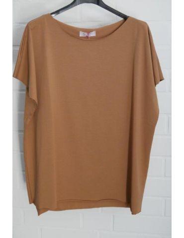 Damen Basic Shirt kurzarm camel caramell mit Baumwolle Onesize 38 - 44