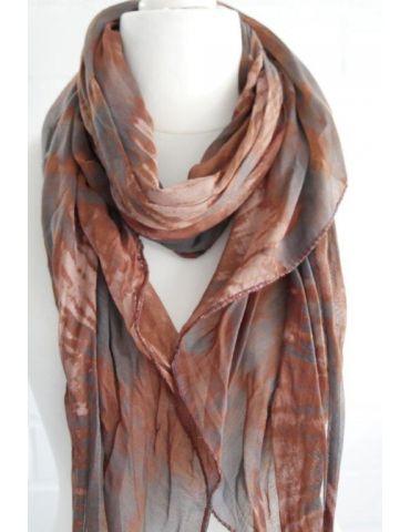 Schal Tuch Loop Made in Italy Seide Baumwolle braun grau beige Batik