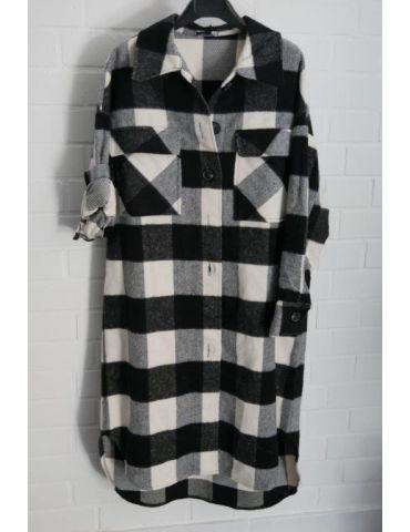 Damen Jacke Hemdbluse Shacket schwarz weiß Karo mit Baumwolle Onesize 38 - 44
