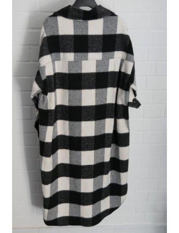 Xuna Damen Jacke Hemdbluse Shacket schwarz weiß...