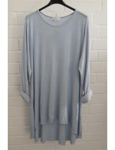 ESViViD Damen Tunika Shirt A-Form langarm hellblau blau Baumwolle Onesize ca. 38 - 44