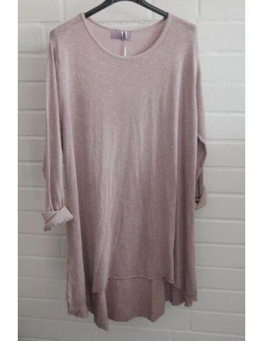 ESViViD Damen Tunika Shirt A-Form langarm altrose rosa Baumwolle Onesize ca. 38 - 44