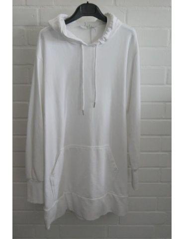 ESViViD Damen langarm Sweat Shirt Tunika Kleid mit Kapuze weiß Onesize ca. 36 - 40
