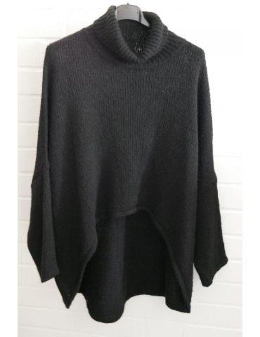 Damen Strick Rolli Pullover schwarz black Onesize ca. 38 - 46
