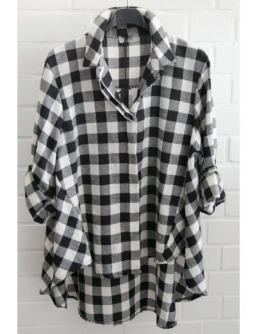 Xuna Damen Bluse schwarz weiß Karo groß A-Form Onesize 38 - 42