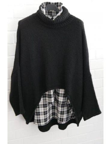 Xuna Damen Bluse schwarz weiß Karo A-Form...
