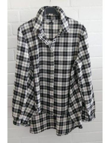 Xuna Damen Bluse schwarz weiß Karo A-Form Onesize 38 - 42