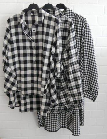 Xuna Damen Bluse schwarz weiß Karo klein A-Form...