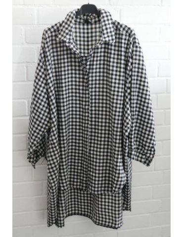 Xuna Damen Bluse schwarz weiß Karo klein A-Form lang Onesize 38 - 46