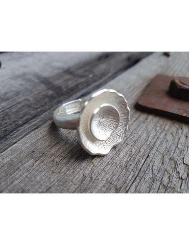 Giuno Ring Damenring Metall Blume silber matt Gummizug