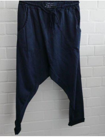 Bequeme Sportliche Damen Hose Baggy dunkelblau uni mit Lyocell Onesize 38 40