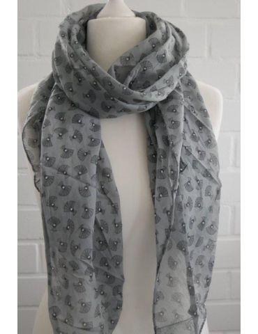 Schal Tuch Loop Made in Italy Seide Baumwolle grau schwarz weiß Pfau