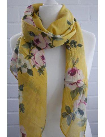 Schal Tuch Loop Made in Italy Seide Baumwolle gelb grün weinrot bunt Blumen