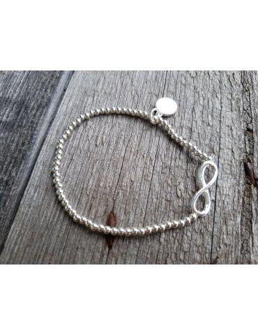 Armband Metallarmband Perlen klein silber Schleife Glanz elastisch