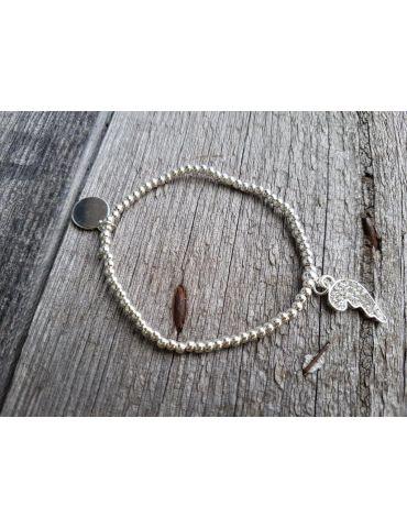 Armband Metallarmband Perlen klein silber Halbes Herz Glanz elastisch