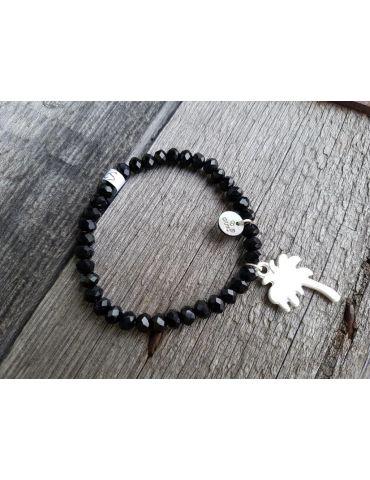 Armband Kristallarmband Perlen schwarz silber Palme Metall Kunststoff