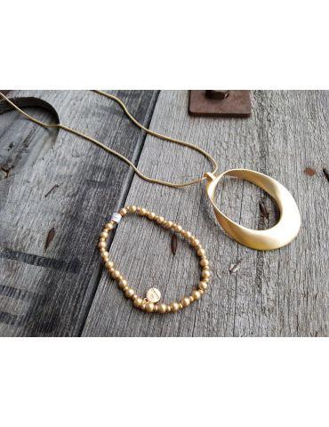 Set Kette Perlen Armband goldfarben Metall Kunststoff