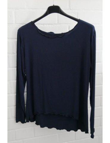Damen Shirt langarm dunkelblau uni mit Viskose Wellen Onesize 38 - 42