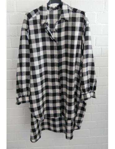 Xuna Damen Bluse schwarz weiß Karo groß A-Form lang Onesize 38 - 46