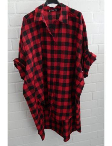 Xuna Damen Bluse schwarz rot Karo groß A-Form lang Onesize 38 - 46