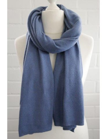 ESViViD XXL Schal Stola Poncho jeansblau blau uni mit Kaschmir Made in Italy