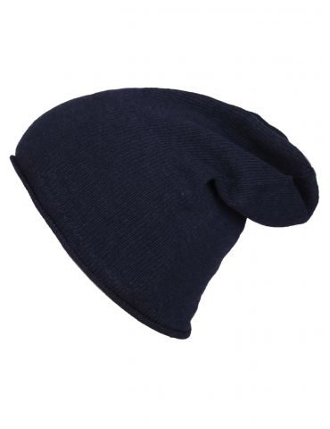 Zwillingsherz Mütze Classic dunkelblau uni ohne Stern mit Kaschmir