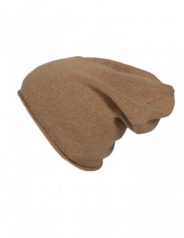 Zwillingsherz Mütze Beanie Classic camel braun uni ohne Stern mit Fleece u Kaschmir