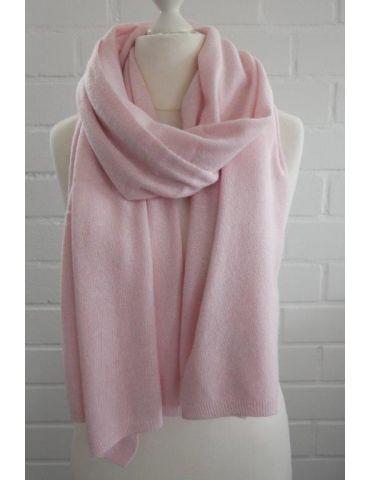 ESViViD XXL Schal Stola Poncho rose rosa uni mit Kaschmir Made in Italy