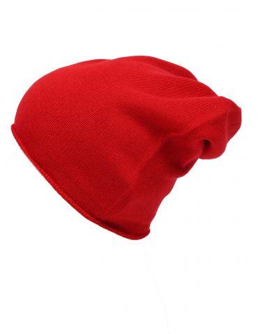 Zwillingsherz Mütze Beanie rot red uni ohne Stern 100% Kaschmir