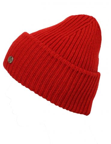 Zwillingsherz Damen Mütze Rippe Muster uni rot red mit Wolle