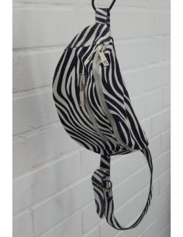Damen Echt Leder Gürtel Tasche Handtasche Bauchtasche schwarz weiß Zebra Animal Print