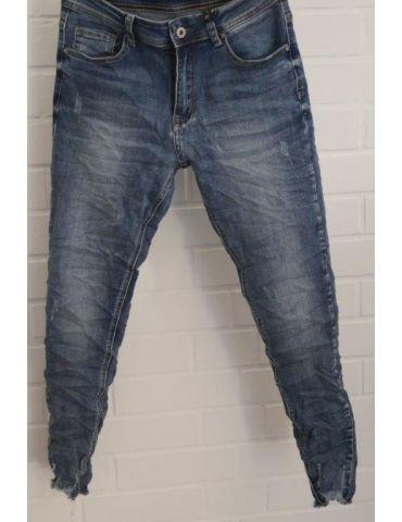 Xuna Jeans Hose Damenhose blau verwaschen Beinabschluß gefranst